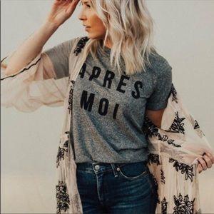 Anthropologie Sol Angeles Apres Moi Grey T-Shirt